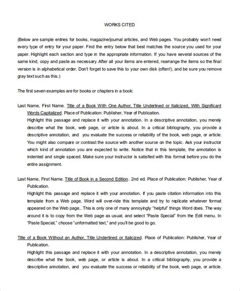 Annotated Bibliography Template 10 Annotated Bibliography Free Sle Exle Format
