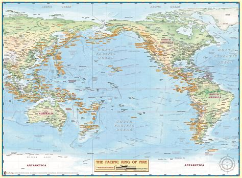 pacific ring  fire wall map  map shop