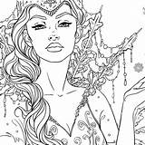 Coloring Adult Queen Snow Fantasy Line Colouring Coloriage Sheets Elf Adults Printable Drawings Drawing Artwork Adulte Ausmalbilder Unicorn Mandala Coloriages sketch template