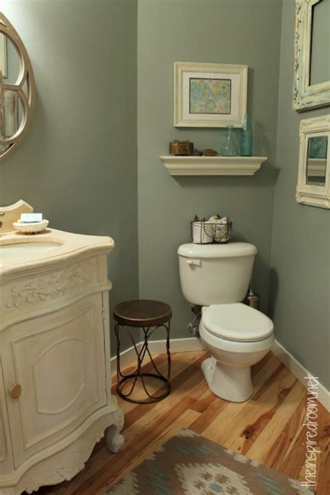 Great Bathroom Paint Colors by Powder Room Slate Green Glidden Paint Makeover Great