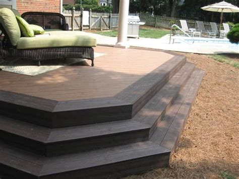 trex transcends composite deck with wide steps and border