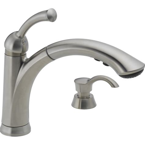 kitchen pull faucets shop delta lewiston stainless 1 handle pull out kitchen