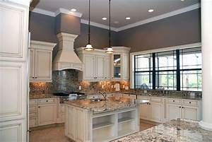 off white kitchen cabinets with antique finish home With kitchen colors with white cabinets with impressionist wall art