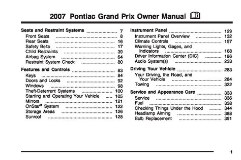 pontiac grand prix owners manual  give