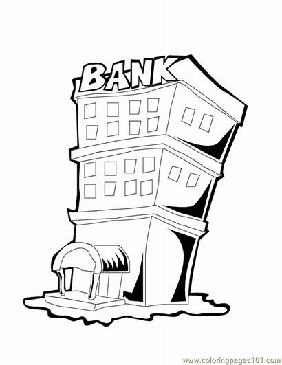 Bank Coloring Building Pages Buildings Drawing Piggy