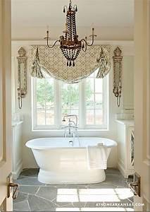 This bathroom is amazing i love the window treatments for Window treatments for the bathroom