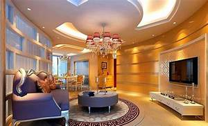 Luxury pop ceiling designs for living room with purple