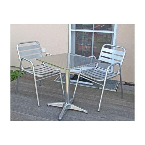 table bistrot aluminium table de bistrot 2 chaises aluminium terrasse achat