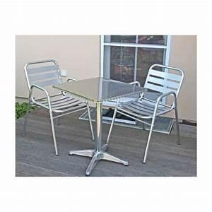 Table De Jardin Bistrot : table de bistrot 2 chaises aluminium terrasse achat vente salon de jardin table de bistrot ~ Teatrodelosmanantiales.com Idées de Décoration