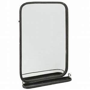 Miroir Metal Noir : grand miroir rectangulaire en m tal noir avec tablette athezza 119 salle de bains pinterest ~ Teatrodelosmanantiales.com Idées de Décoration