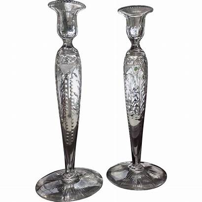 Glass Cut Pairpoint Candlesticks Star Base Engraved