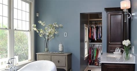grey wood floors blue walls  white trim basement