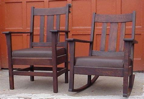 Mission Oak Armchair & Rocker Jm Young Company For Sale