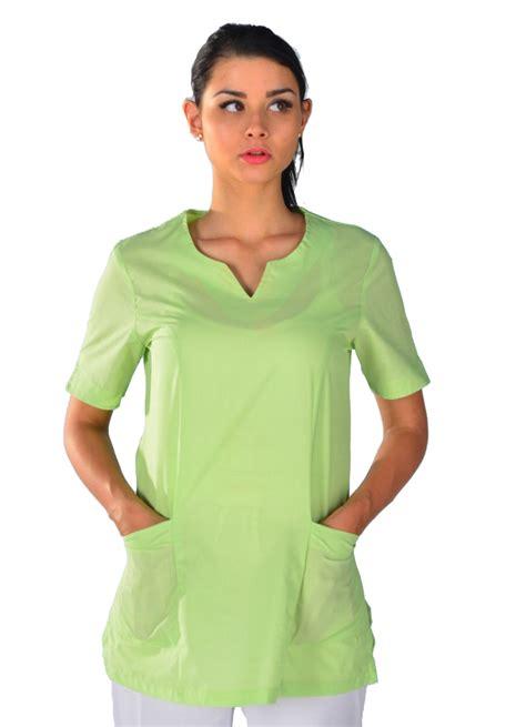 veste de cuisine femme tunique médicale verte anis blouse médicale couleur
