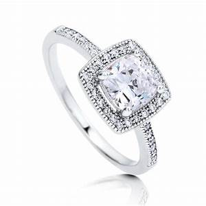 berricle sterling silver cushion cut cz halo promise With promise engagement wedding ring