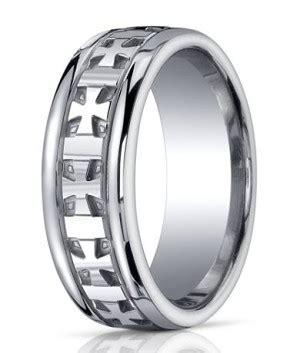 10mm designer argentium silver cross design wedding ring with polished finish justmensrings