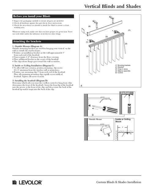 Vertical Blinds/Shades Installation Instructions