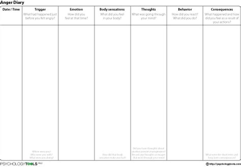 anger diary cbt worksheet psychology tools