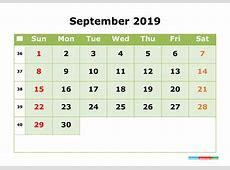 September 2019 Printable Calendar Month by Month Calendar