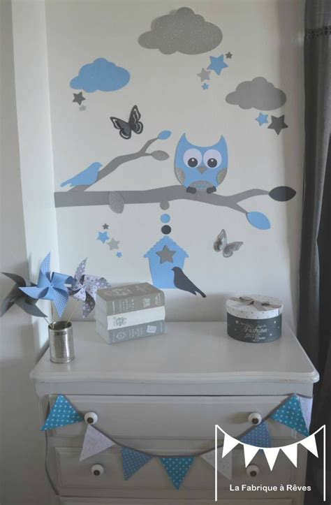 décoration bébé garcon chambre stickers bleu ciel gris argent décoration chambre enfant