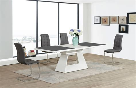 grey and white dining table grey white extending high gloss glass dining table and 4
