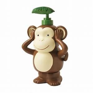 Essential home spunky monkey wastebasket home bed for Monkey bathroom set