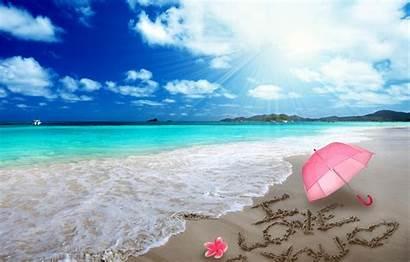 Romantic Umbrella Beach Sand Heart Romance Hearts