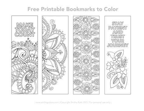free printable bookmarks to color smiling colors