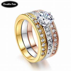 aliexpresscom buy classic design 3 color round cubic With three gold wedding rings