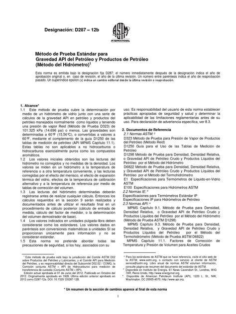 Norma-ASTM-D-287 (1) | Medición de flujo | Densidad