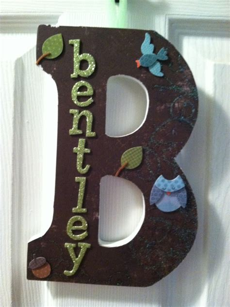 wooden letter  adhesive applied paper  decor