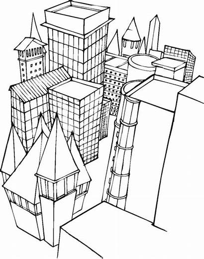 Coloring Building Buildings Pages Lego Blocks Printable