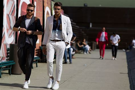 Men Style Wearing Suit with Sneakers