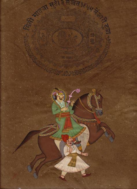 rajasthani maharaja miniature portrait art handmade indian equestrian painting charming