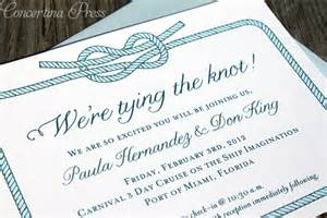 tie the knot wedding concertina press stationery and invitations tying the knot cruise ship wedding invitations