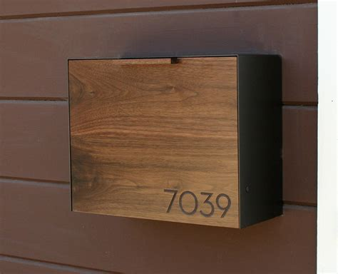 wall mount mailbox modern mailbox large walnut and stainless steel mailbox wall