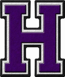Presentation Alphabets: Purple Varsity Letter H