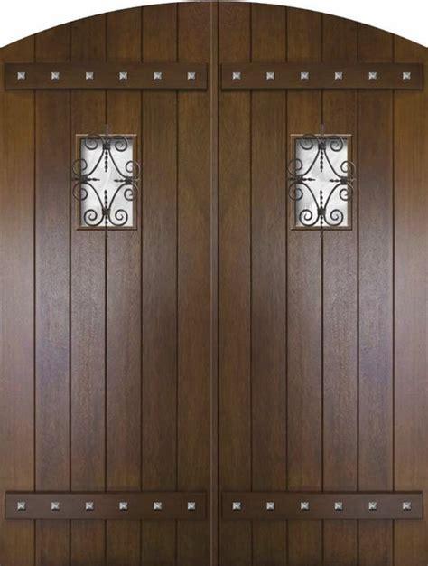 slab house double door  mahogany rustic plank arch top