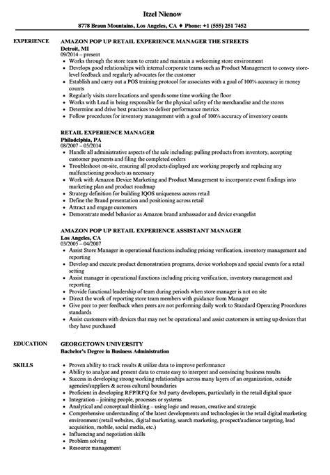 retail experience resume sles velvet