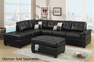 Poundex reese f7519 black leather sectional sofa steal a for Furniture row leather living room sets