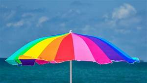 Rainbow, Umbrella, At, Beach, 5k, Wallpapers