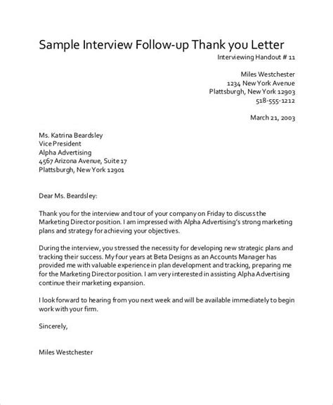 8 sle thank you follow up letters free sle