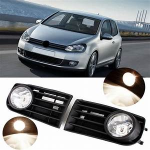 Car Front Bumper Fog Lights Grill Kit With 55w H3 Bulb