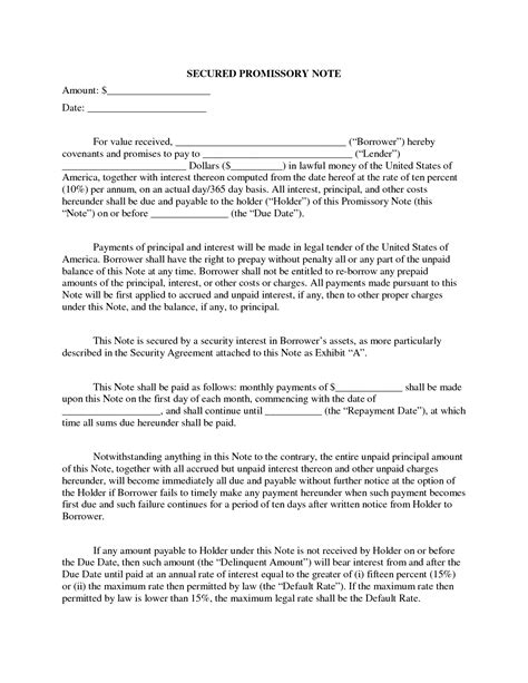 Secured Promissory Note Template Free by Free Secured Promissory Note Template It Resume Cover