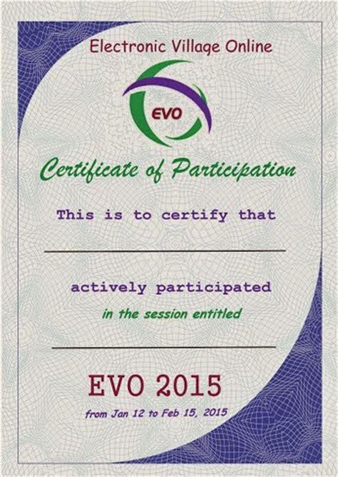 evo training certificates  participation