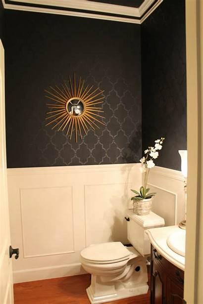 Powder Bathroom Gold Bathrooms Wainscoting Wall Walls