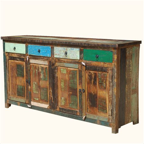 Distressed Buffet Weathered Rustic Reclaimed Wood Storage