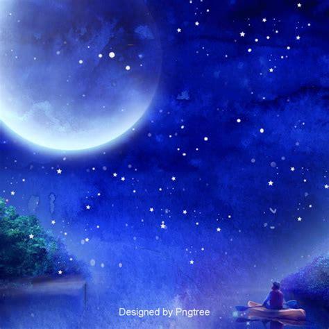 blue aesthetic moon background design boat