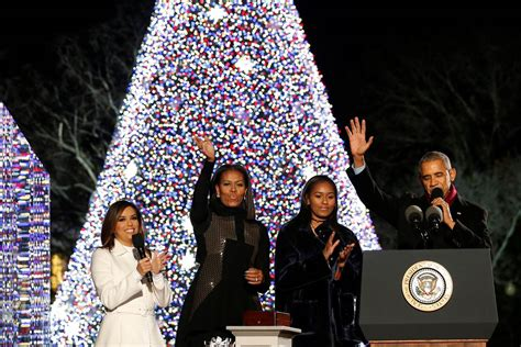 the obamas light national christmas tree for the final