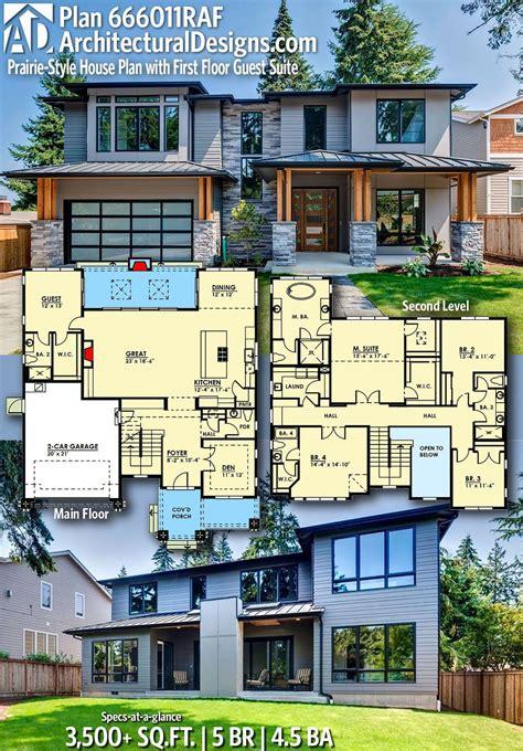 Plan 666011RAF: Prairie Style House Plan with First Floor
